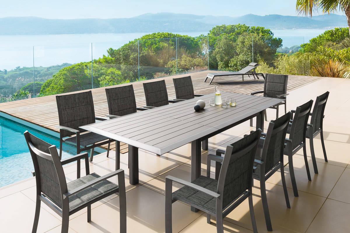 table salon de jardin aluminium hesperide  jardin piscine