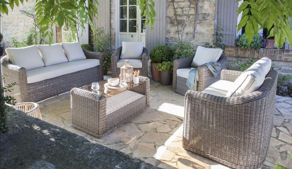 Salon jardin rotin gris - Mailleraye.fr jardin