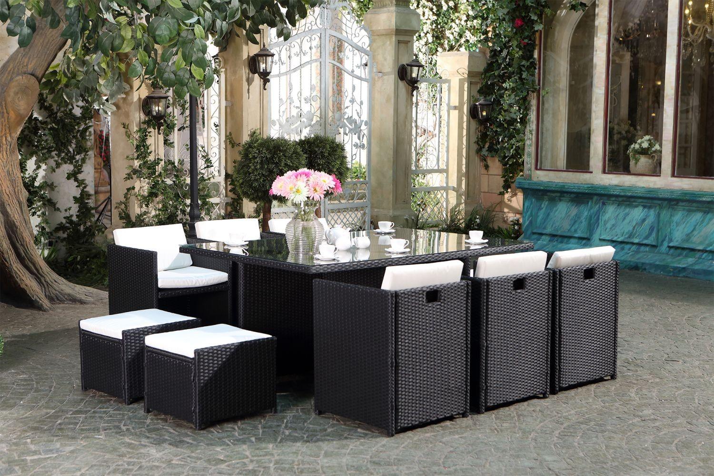 Salon de jardin table en résine tressée 6 places - Jardin piscine et ...
