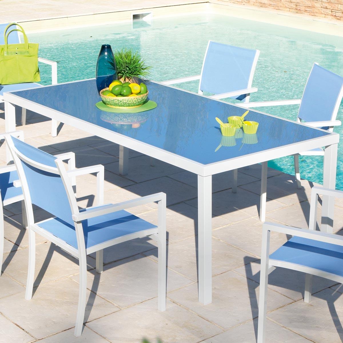 Salon de jardin plastique bleu marine - Jardin piscine et Cabane
