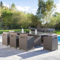 Salon de jardin foggia 8 gris anthracite - Jardin piscine et Cabane