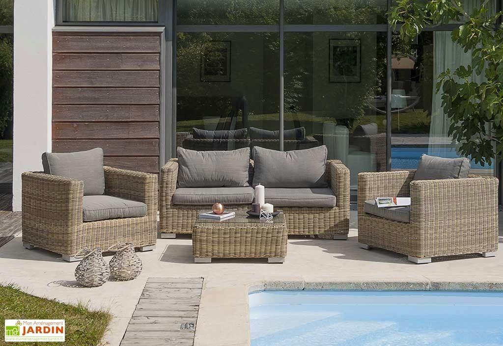 Salon de jardin rotin vert - Jardin piscine et Cabane