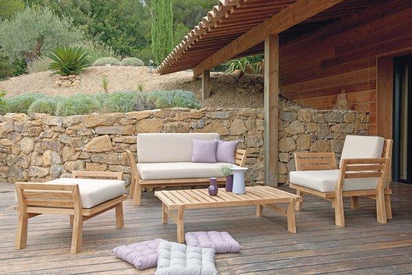 Salon de jardin en bois chez castorama - Jardin piscine et Cabane