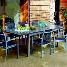 Salon de jardin aluminium gris et composite bois 1 table extensible 180/280cm + assises maelig