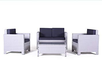 Salon de jardin 4 places en résine tressée samoa gris clair