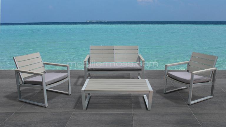 Salon de jardin antibes gris clair - Jardin piscine et Cabane