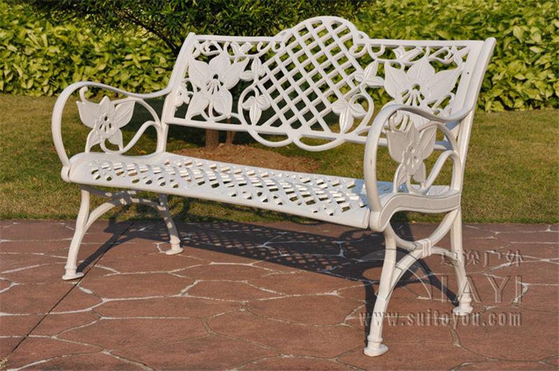 Salon de jardin en fonte d'aluminium blanc