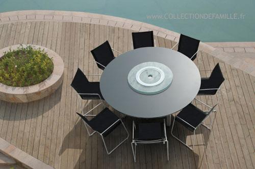 Salon de jardin table ronde en verre - Jardin piscine et Cabane