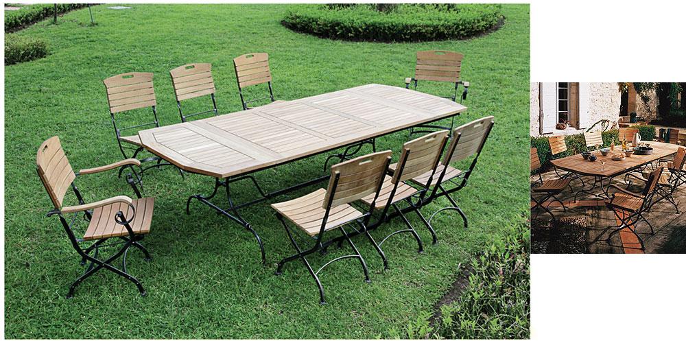 Table de salon de jardin fer forgé - Jardin piscine et Cabane