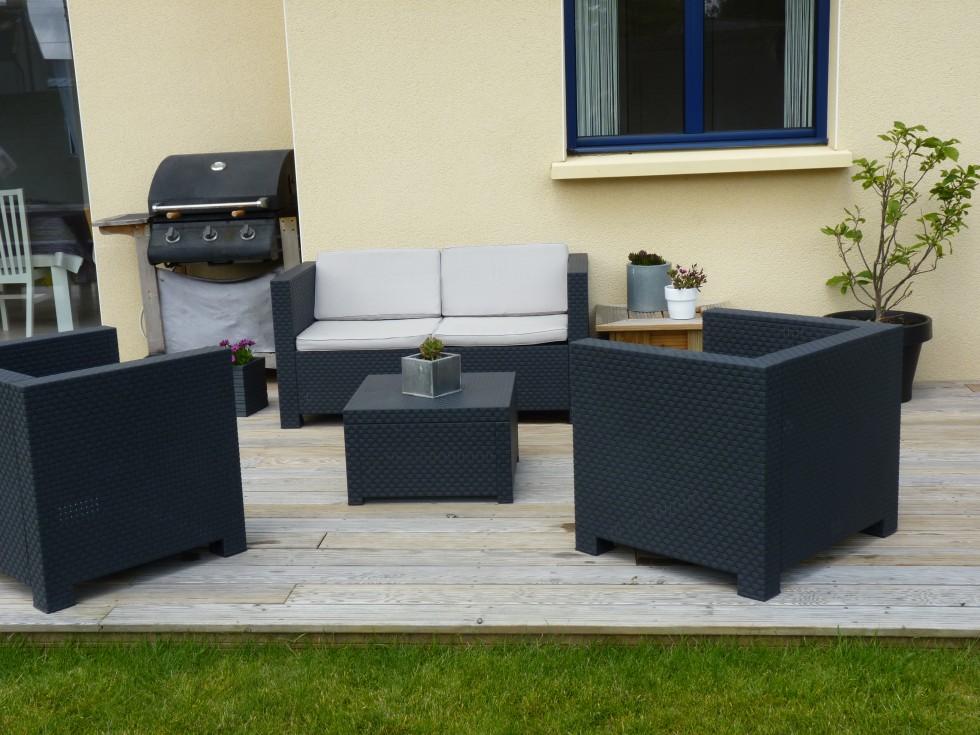 Salon de jardin terrasse bois - Jardin piscine et Cabane
