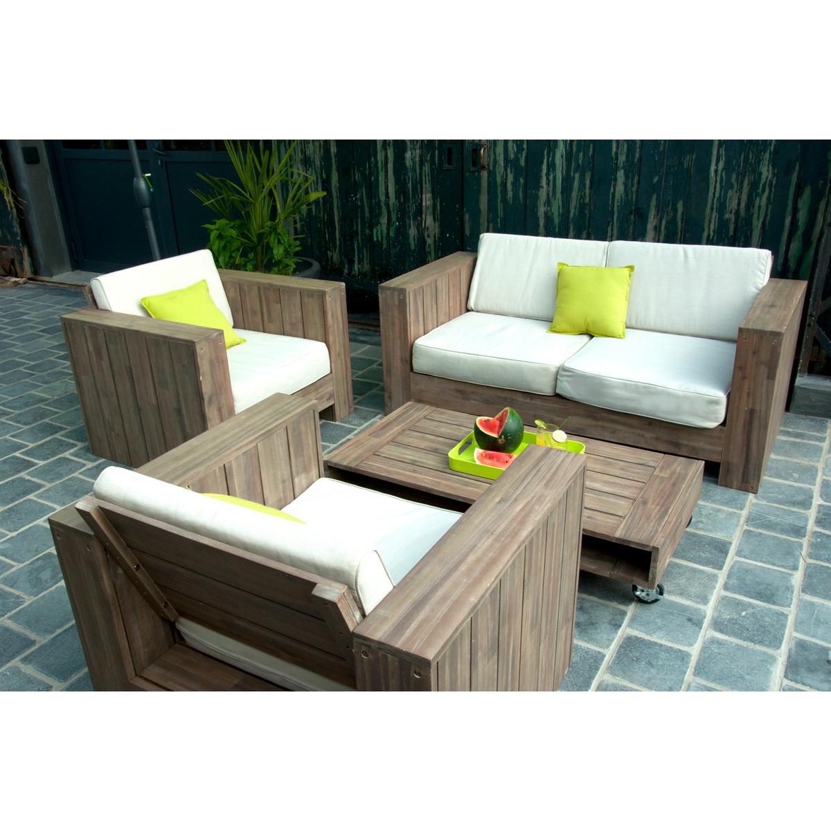 Fauteuil salon de jardin bois - Jardin piscine et Cabane