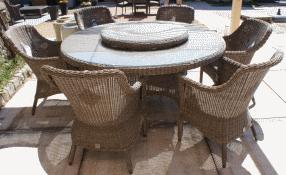 Salon de jardin résine tressée table ronde - Jardin piscine et Cabane