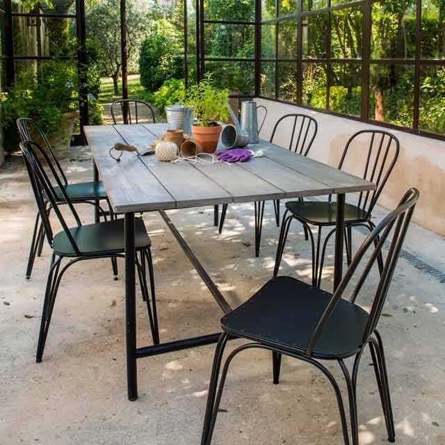 Salon de jardin metal et bois - Jardin piscine et Cabane