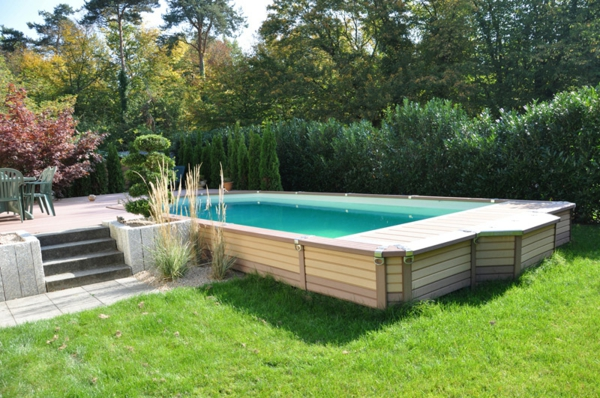 piscine dans jardin en pente jardin piscine et cabane. Black Bedroom Furniture Sets. Home Design Ideas