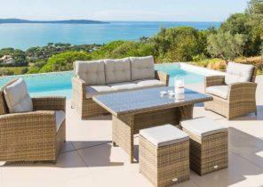Salon de jardin gris anthracite 6 personnes harmony - Jardin piscine ...