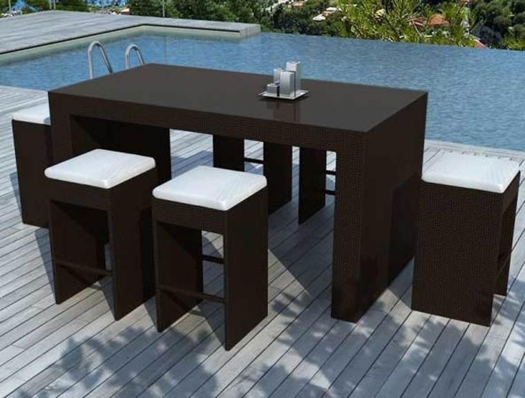 Salon de jardin avec table mi haute - Jardin piscine et Cabane