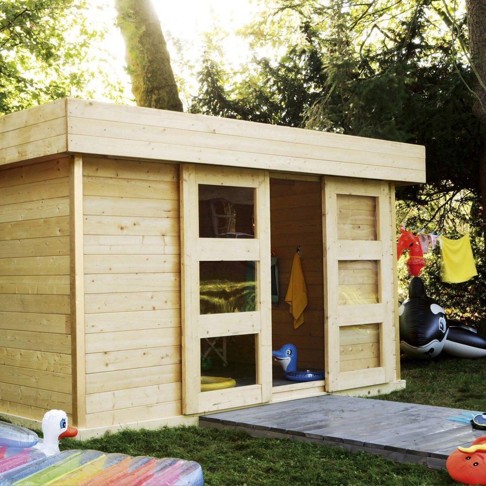 Cabane bois au fond du jardin jardin piscine et cabane - Cabane de jardin en resine ...