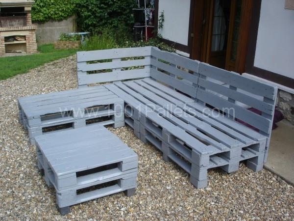 Salon de jardin en palette en bois comment faire jardin - Fabriquer son salon de jardin en bois ...