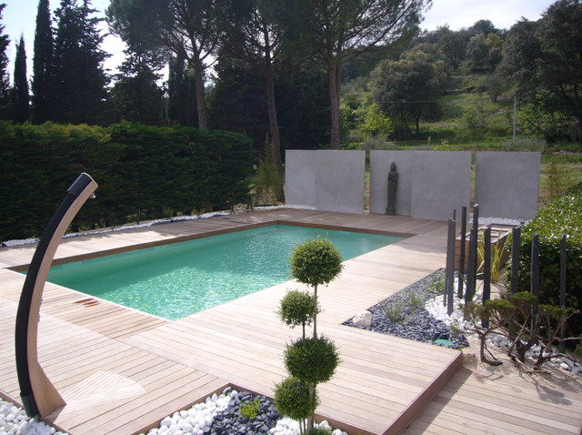 Amenagement jardin et piscine jardin piscine et cabane - Amenagement exterieur piscine jardin ...