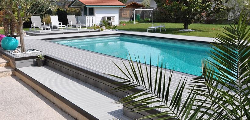Amenagement jardin terrasse piscine jardin piscine et cabane - Amenagement bord de piscine ...
