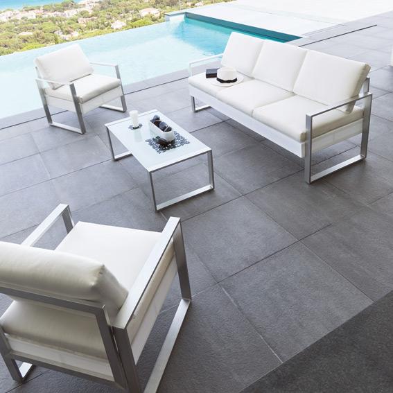 Salon de jardin alu blanc et gris - Jardin piscine et Cabane