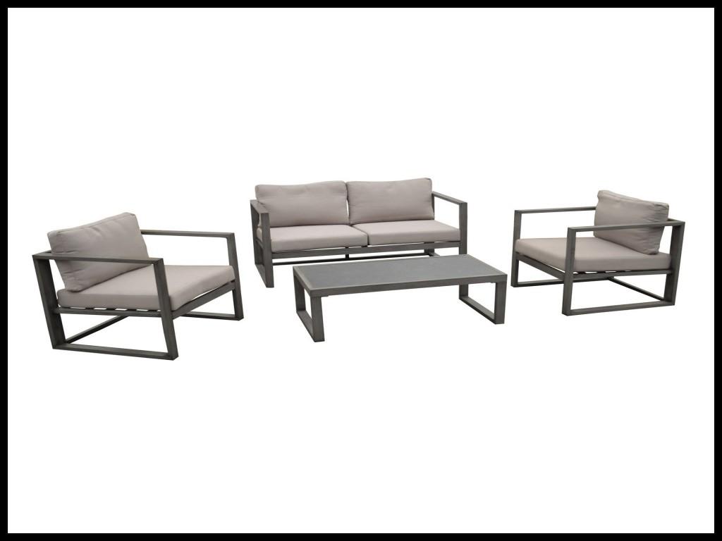 Salon bas de jardin gili aluminium anthracite 4 personnes - Jardin ...