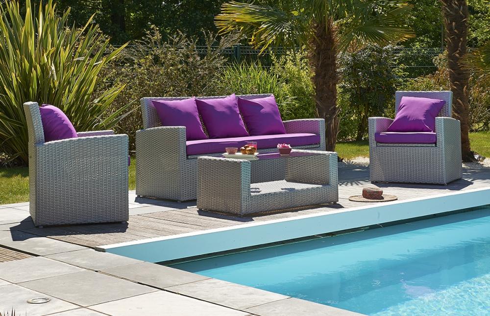 Salon de jardin capri taupe - 7 places - Jardin piscine et Cabane