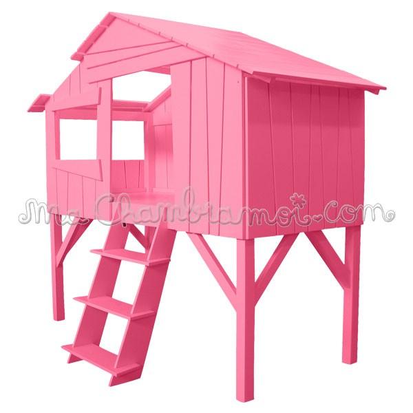 Cabane Rose Jardin Piscine Et Cabane - Lit cabane rose
