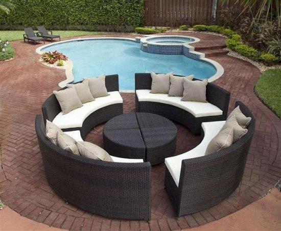 Salon de jardin modulable rond - Jardin piscine et Cabane