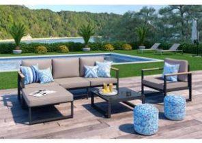 Salon de jardin naevia en aluminium table 8 places textilène ...