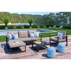 Salon de jardin avec table modulable - Jardin piscine et Cabane