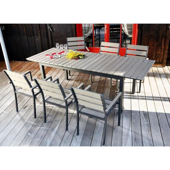 Nice salon de jardin 6 places en aluminium - gris