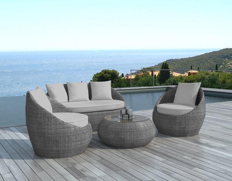 Salon de jardin gris 8 places - Jardin piscine et Cabane