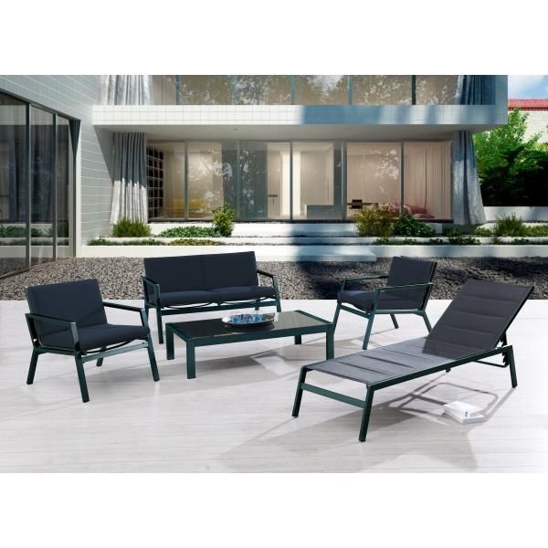 Nice salon de jardin 6 places en aluminium - gris - Jardin piscine ...