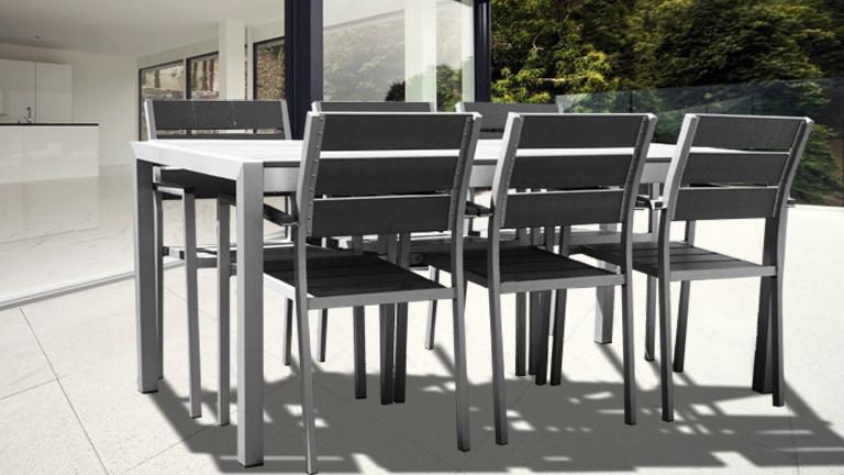 Salon de jardin table et chaise alu - Jardin piscine et Cabane