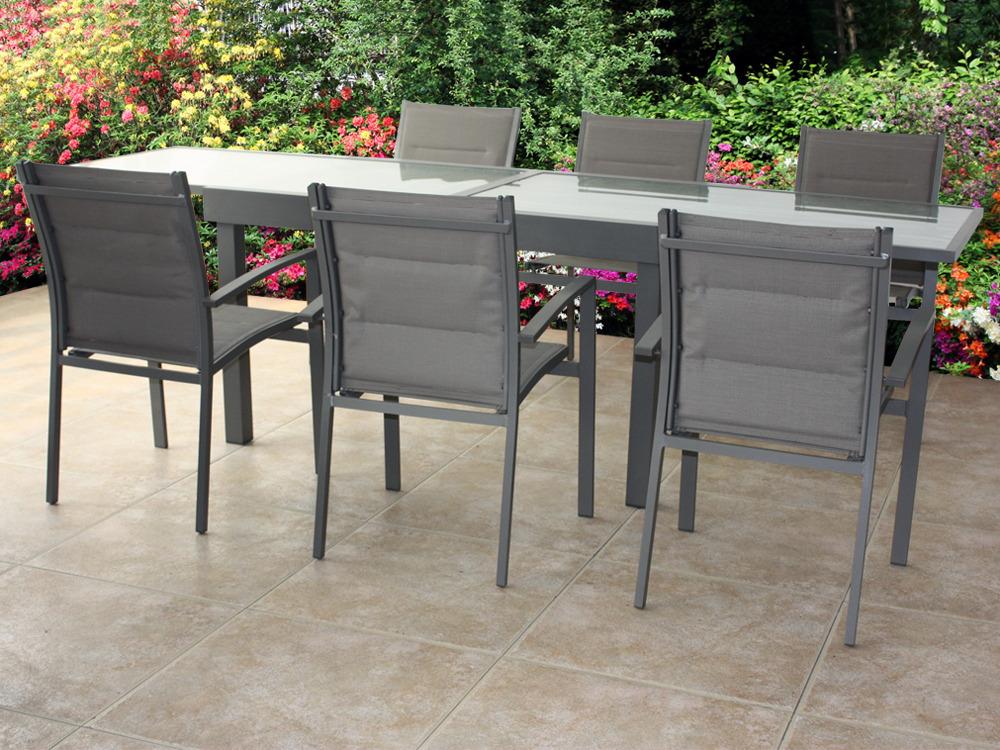 Salon de jardin aluminium 6 chaises & table - Jardin piscine et Cabane