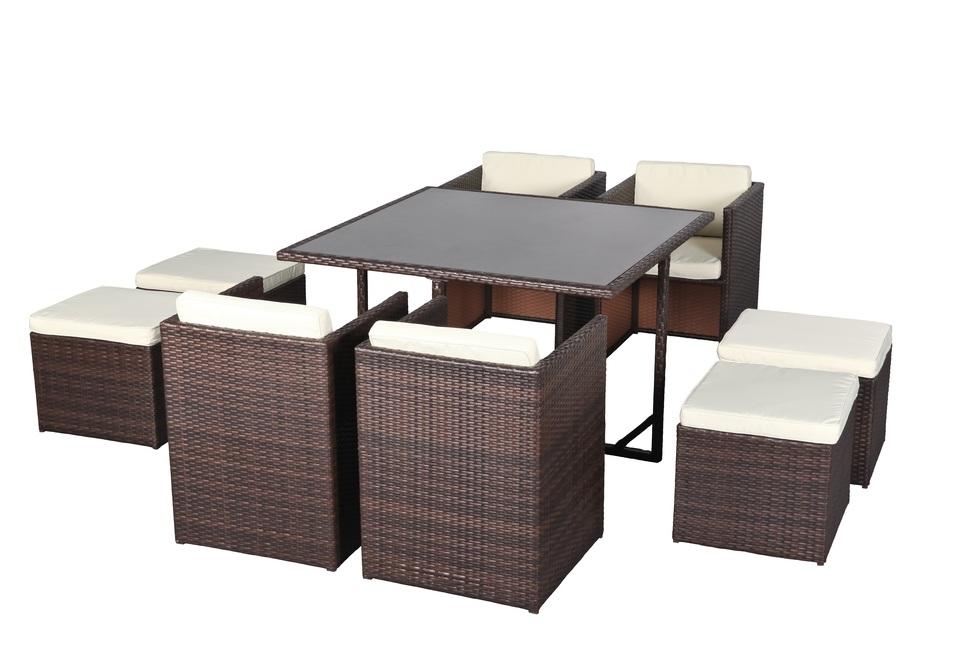 Salon de jardin avec fauteuil encastrable - Jardin piscine et Cabane