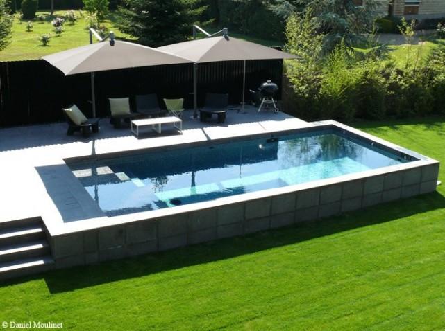 Piscine de jardin rectangulaire - Jardin piscine et Cabane