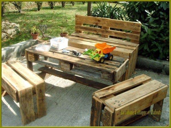 Salon de jardin en palette à vendre