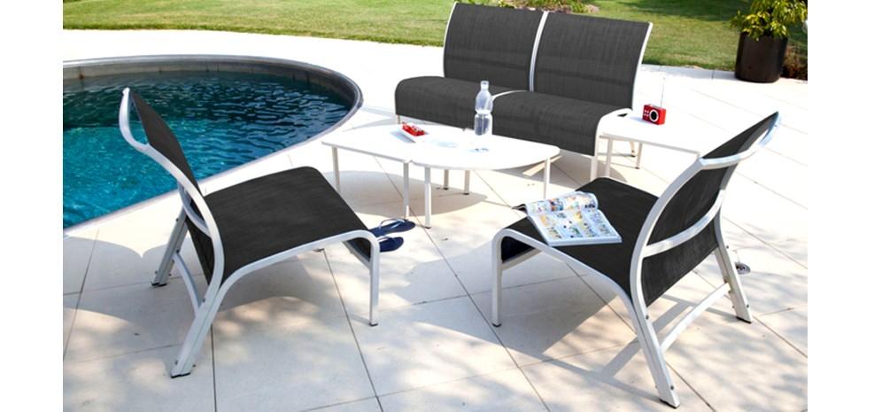 Salon de jardin aluminium textilène - Jardin piscine et Cabane