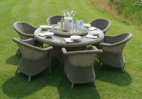 Salon de jardin en résine tressée avec table ronde