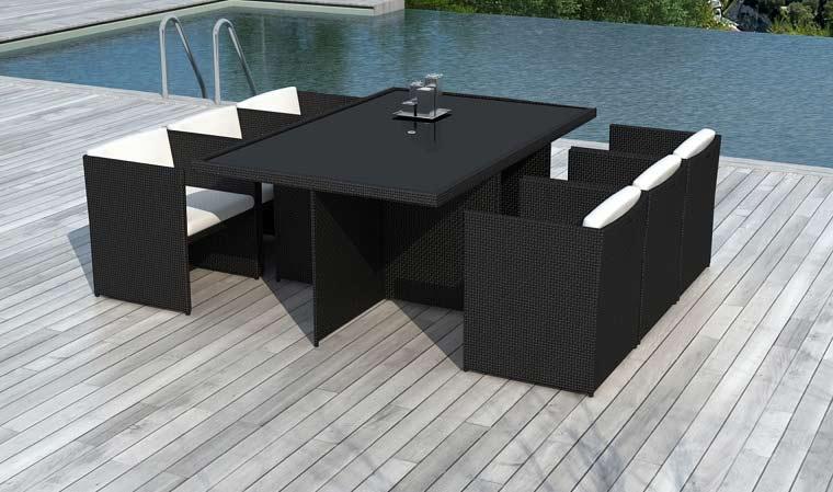Salon de jardin table en résine tressée 6 places noir