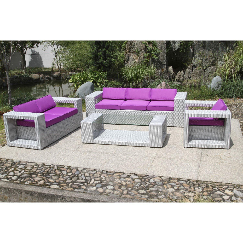 Salon de jardin resine tressee gris leroy merlin - Jardin piscine et ...