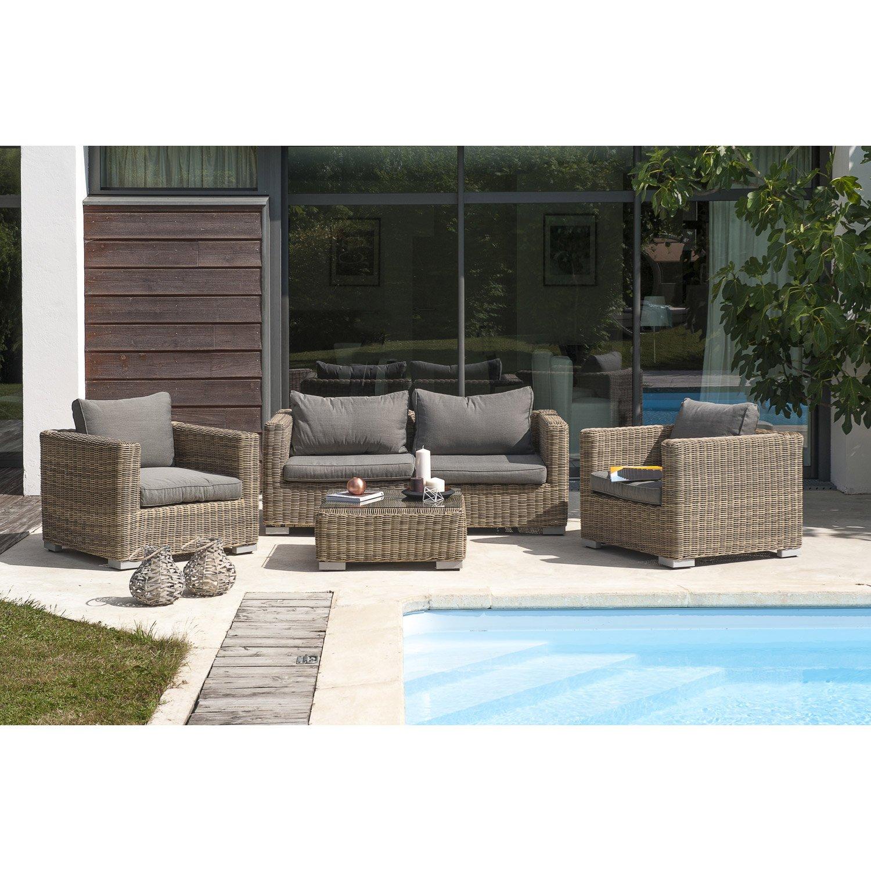 Salon de jardin résine tressée 2 fauteuils 1 table - Jardin piscine ...