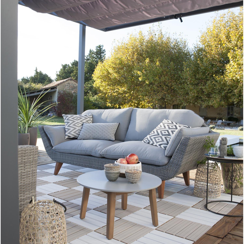 Salon bas de jardin niagara aluminium gris 4 personnes - Jardin ...