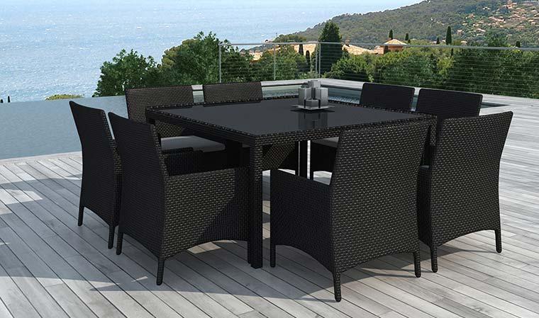 Salon de jardin table en résine tressée 8 places noir