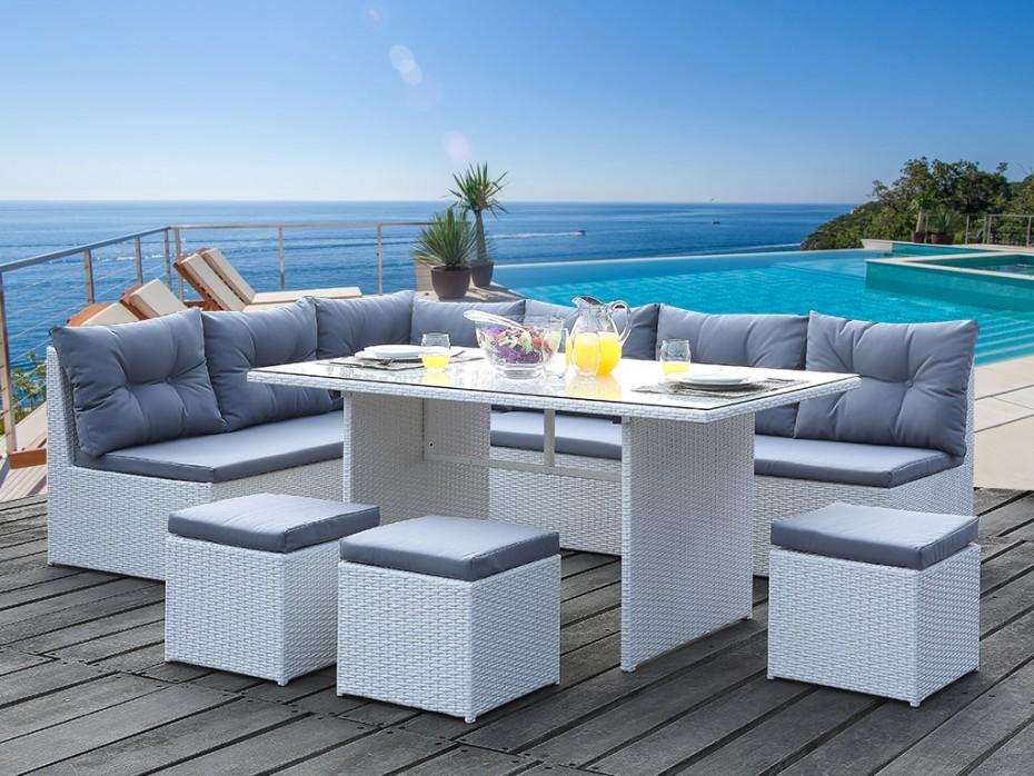 Salon de jardin resine blanc pas cher - Jardin piscine et Cabane