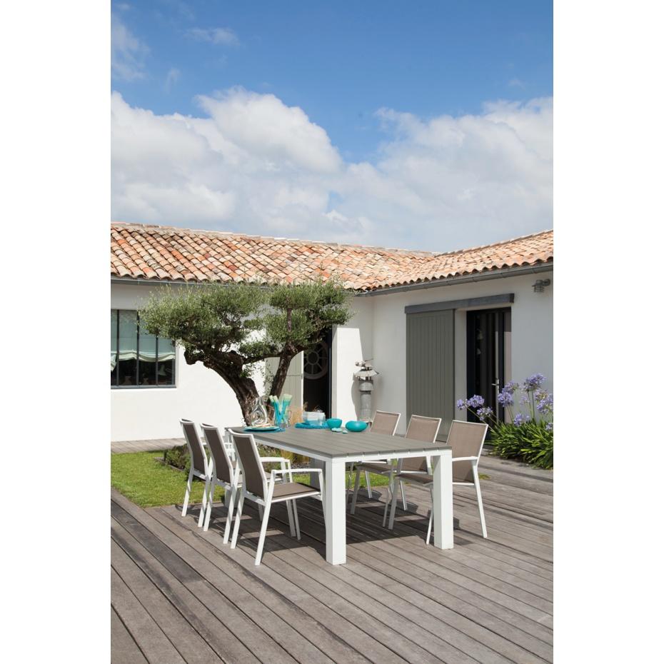 Salon de jardin aluminium couleur taupe - Jardin piscine et Cabane