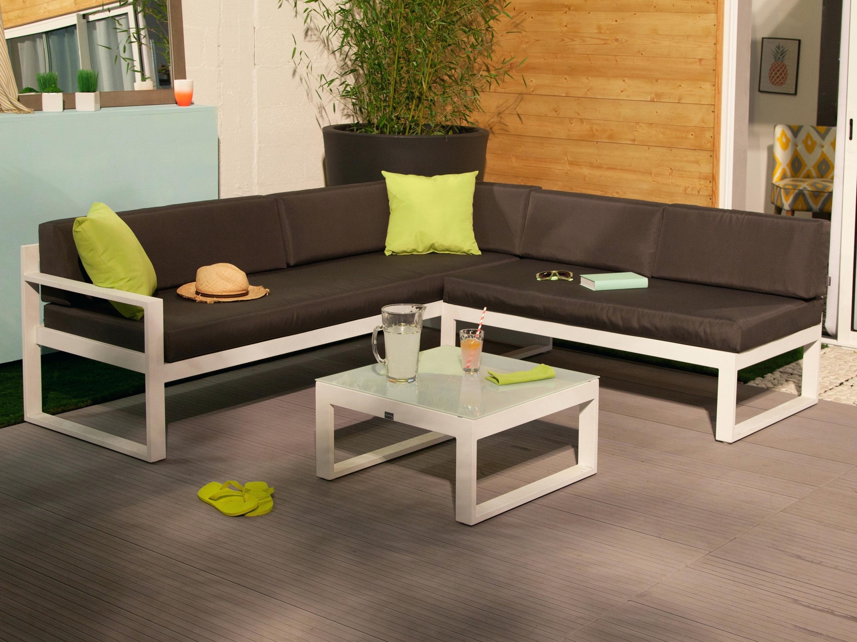 Salon de jardin sesimbra aluminium blanc - 5 places