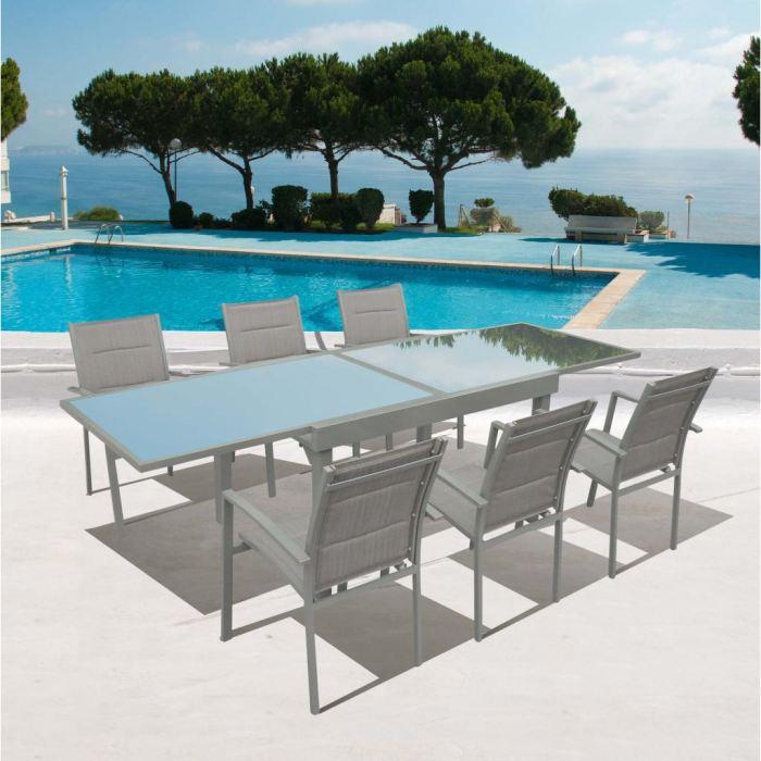 Salon de jardin aluminium et verre pas cher - Jardin piscine et Cabane
